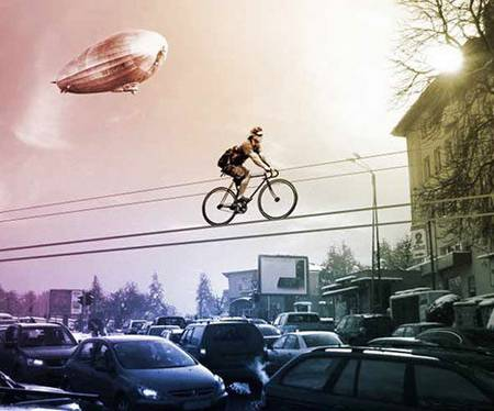 Riding a bicycle in the sky