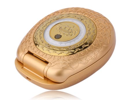 Golden cell phone covered with lotus patterns