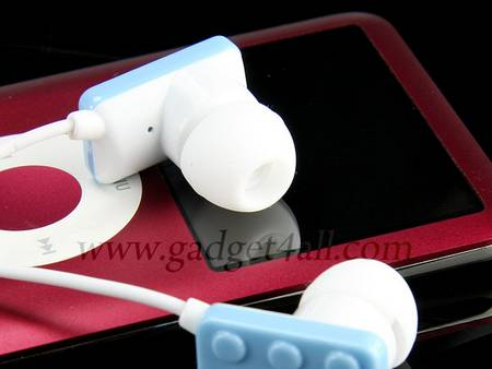 Colorful LEGO brick earphones