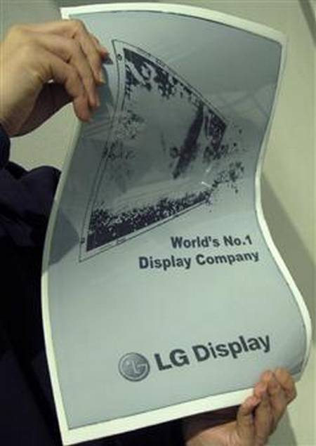 LG unveiled newspaper-shaped flexible e-paper