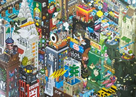 Colorful New York Pixilated Poster by eBoy