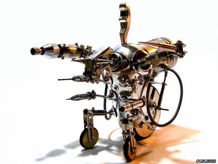 handmade metal robots all like Transformers