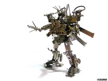 handmade metal robots all like Transformers