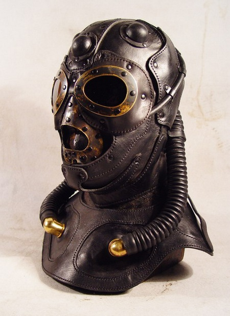 Steampunk Leather Fighter Pilot Mask