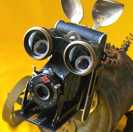 Steampunk robot dog with an old camera eye