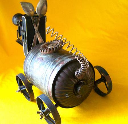 steampunk robot dog with an old camera eye gadgetsin