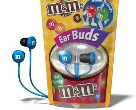 Delicious M&M Earphones Hanging on Your Ears