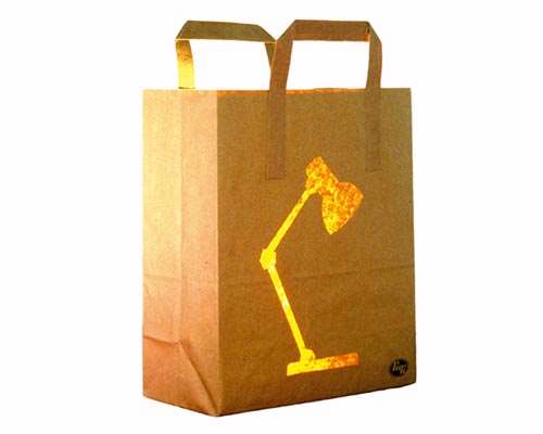 Bagalight desk lamp or paper bag