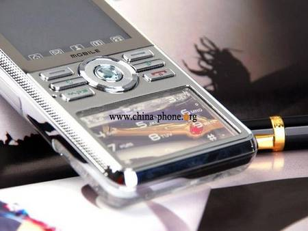Cell phone with transparent crystal number keyboard