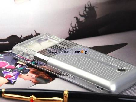 Cell phone with transparent crystal number keyboard from China