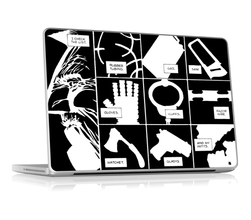 iPhone and MacBook skins themed by Frank Miller's classical comics