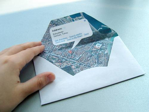 Traditional envelope hit by Google Map