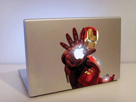 Colorful Iron Man holding MacBook lighting apple