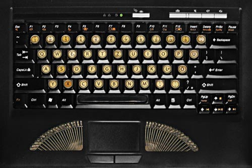 Turn your keyboard into vintage typewriter with the stickers