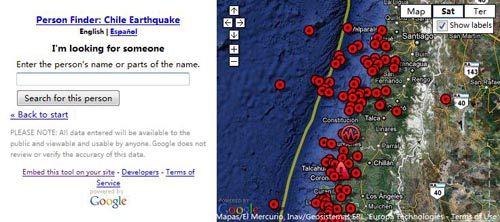 Google Person Finder: Chile Earthquake