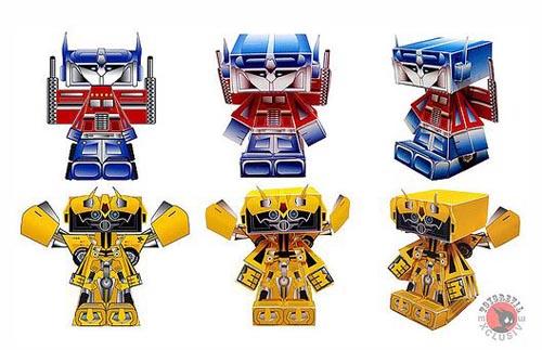 Optimus Prime Bumblebee paper figures