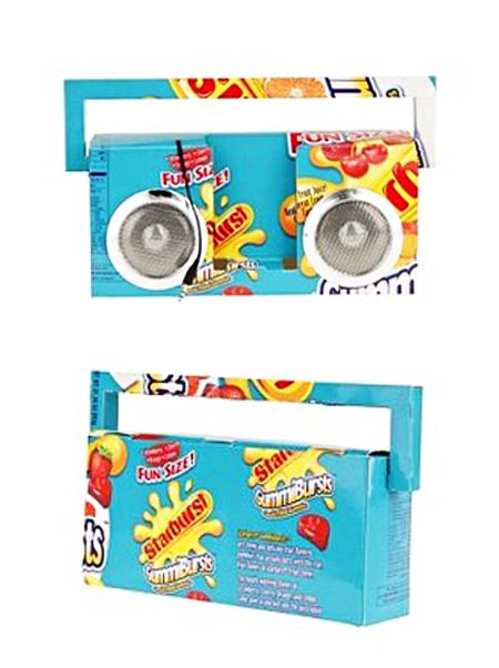 Recycled boombox inspired from candy box