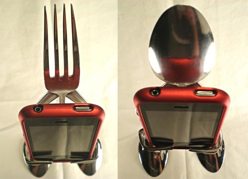 Handmade Silverware iPhone Stand