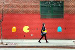 Pac-man street art in action