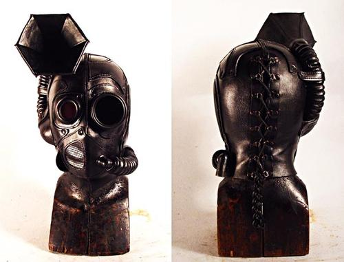 Steampunk Leather Mask Integrated Built in Speaker