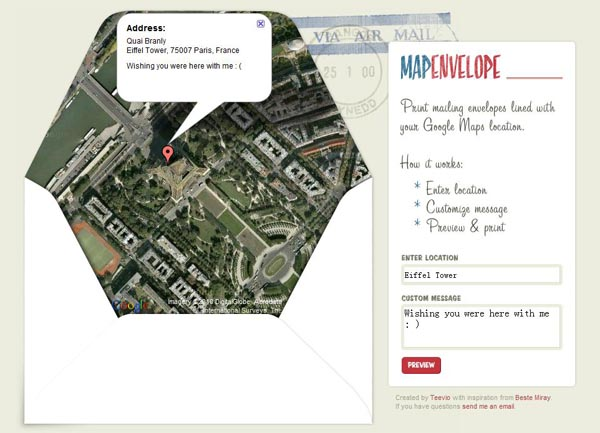 Made Your Own Google Map Envelope