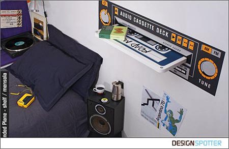 Huge Vintage Cassette Shelf for Your Alarm Clock and etc
