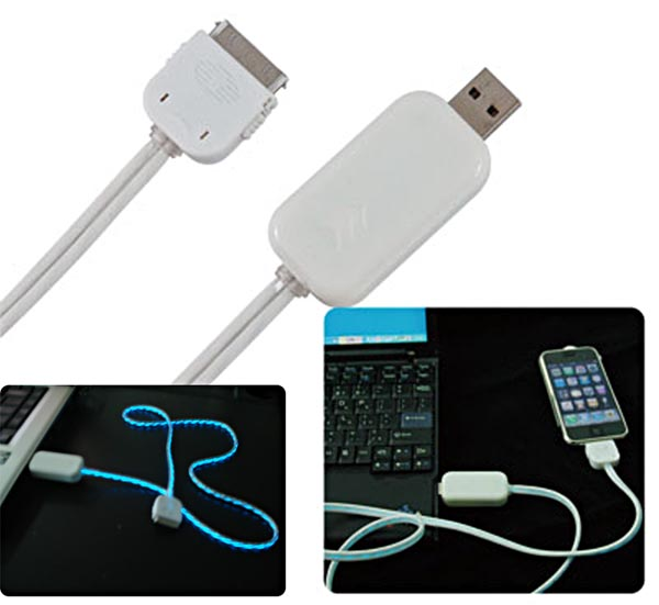 Lighted iPod and iPhone charge cable