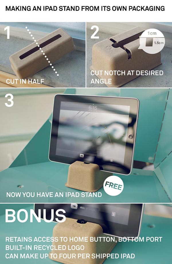 Make your own iPad stand with its packaging materials