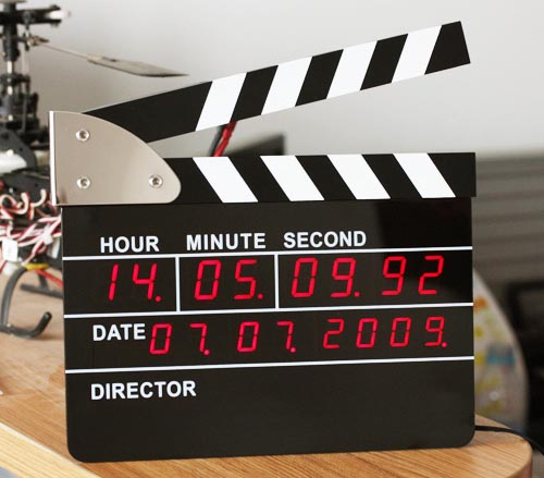 Movie Slate LED Clapperboard Alarm Clock cuts your sleeping