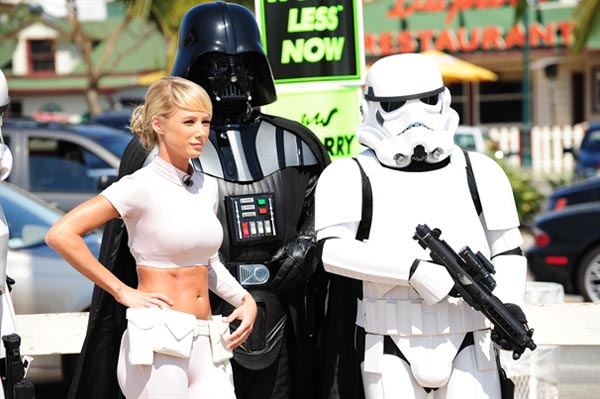 princess leia car wash surround by stormtrooper and darth
