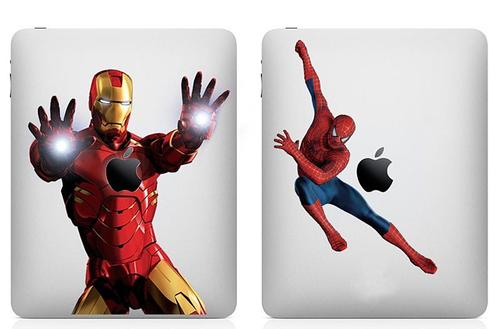Full Color Superhero iPad Decal Adds Iron Man and Spider Man