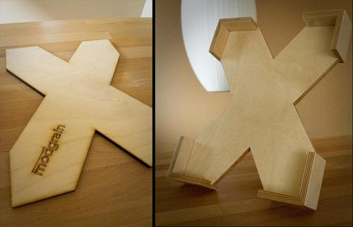 X-shaped Wooden iPad Stand