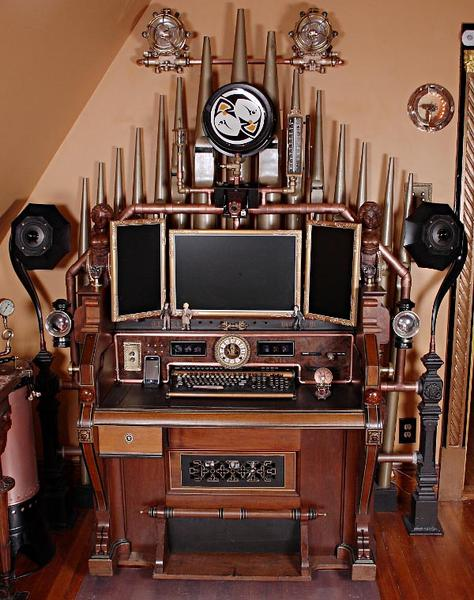 Incredible Victorian Steampunk Computer and Workstation