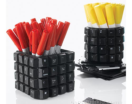 Recycled Computer Keyboard Keys Pencil Holder