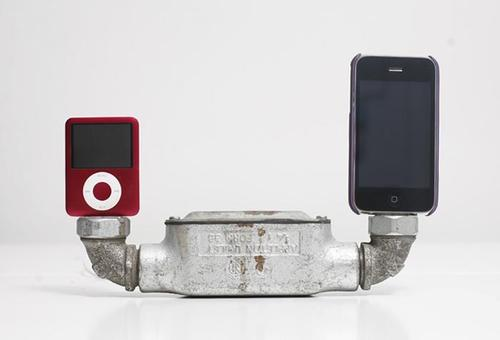 Found art iPhone dock not only a pipe