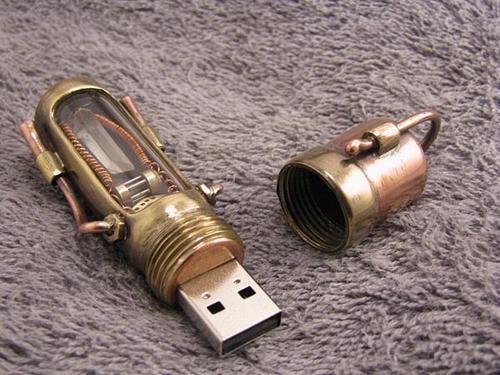 Steampunk USB Flash Drive with Glowing Quartz Crystal