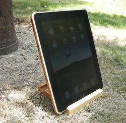 iPad Wood Grain Leatherette Case and Wooden Stand