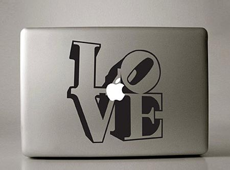 Four Macbook Stickers Expressed in Art Fonts