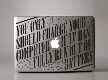 Four MacBook Stickers Expressed in Art Font