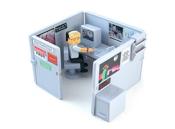Set a mini office cubicle playset on desktop