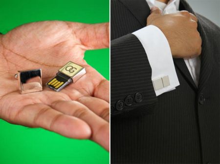 Silver Cufflinks Doubled as USB Flash Drive