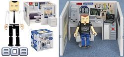 Set a mini office cubicle playset on desktop