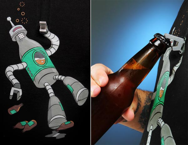 BeerBot Bottle Opening Robot on T-Shirt