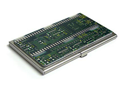 Circuit board business card holder gadgetsin colourmoves