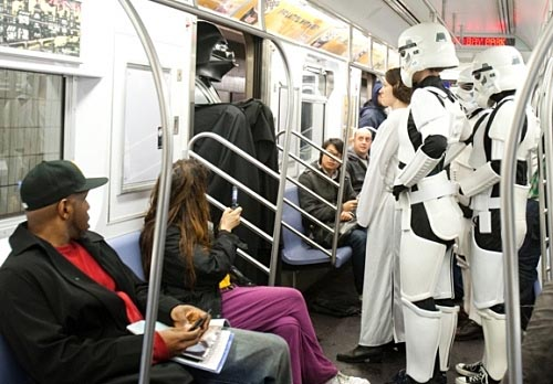 Darth Vader and Stormtrooper in Action in Subway Car
