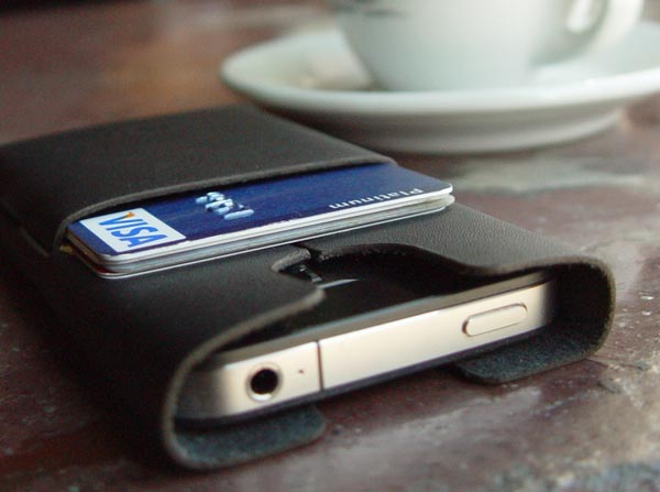 Handmade iPhone 4 Leather Case Integrated Credit Card Holder