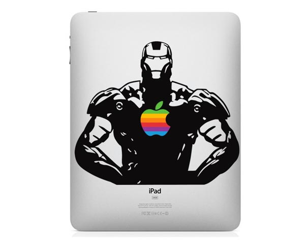 iPad Decal Featuring Iron Man with Rainbow Apple Arc Reactor