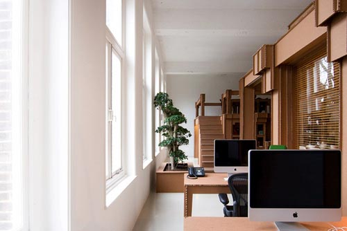 Nothing's Eco-friendly Office by Cardboard Boxes