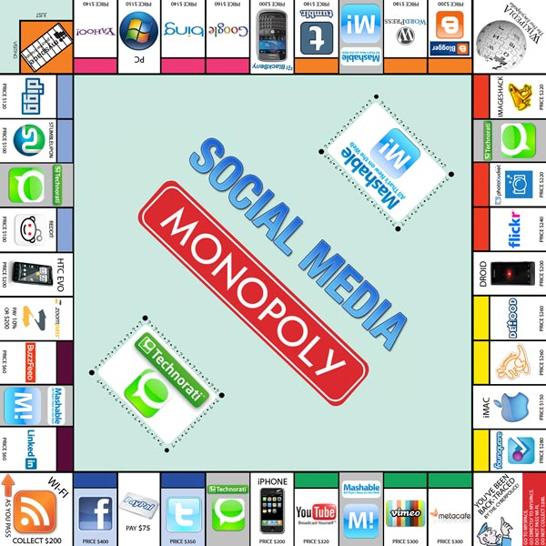 Social Media Monopoly with Mashable and Technorati Cards