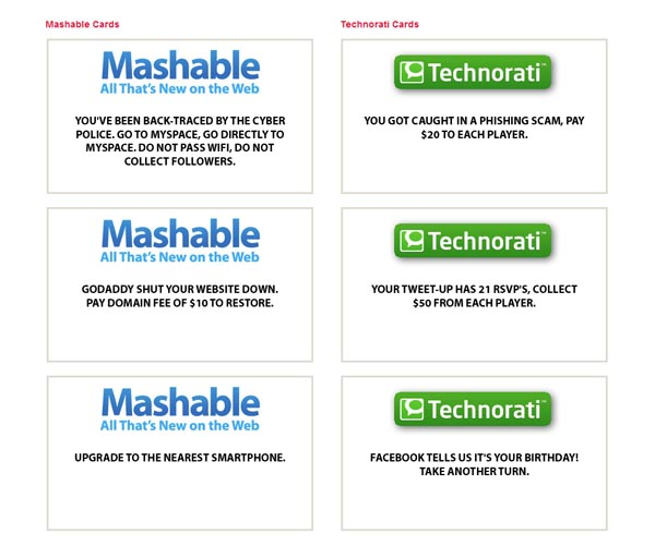 Social Media Monopoly Board Game with Mashable and Technorati Cards